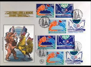 Frankreich 3023-26 + GB 1513-16 Brief Eisenbahntunnel Gemeinschaftsausgabe 1994