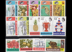 Bahamas 318-32y und 402-405y Freimarkenserie Elisabeth II. WZ 6 1976