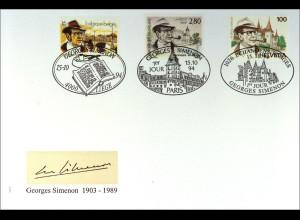 Frankreich 3055 Georges Simenon Gemeinschaftsausgabe Schweiz Belgien FDC 1994