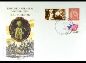 Bundesrepublik Deutschland MiNr. 1766 Brief mit Mischfrankatur Wilhelm v Steuben