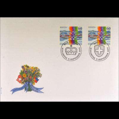 Schweiz Liechtenstein FDC Nachbarschaft Gemeinschaftsausgabe Joint Issue 1995