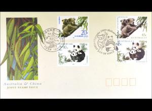 China Australien FDC Koala und Panda Gemeinschaftsausgabe Joint Issue 1995