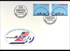 Luxemburg Island Kombi FDC Flugverbindung Gemeinschaftsausgabe Joint Issue 1995
