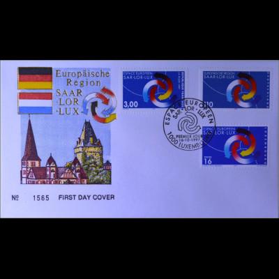 Luxemburg MiNr. 1425 Kombi FDC Europäische Region Saar-Lor-Lux Joint Issue 1997