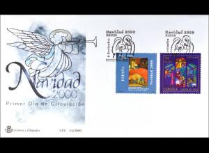 Spanien MiNr. 3602-03 FDC Weihnachten Gemeinschaftsausgabe Joint Issue 2001