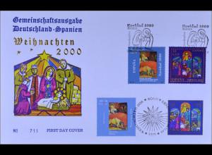 Bund MiNr. 2151-52 und Spanien Kombi FDC Gemeinschaftsausgabe Joint Issue 2001