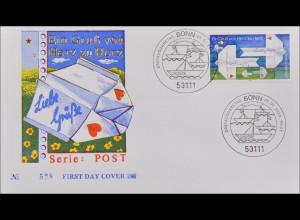 Bund BRD Ersttagsbrief FDC Michel Nr. 2387 Post: Grußmarke