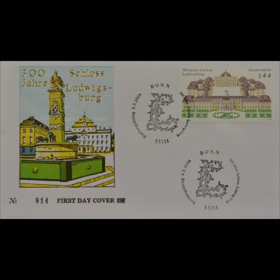 Bund BRD Ersttagsbrief FDC MiNr. 2398 300 Jahre Schloss Ludwigsburg