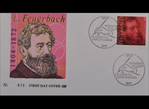 BRD Ersttagsbrief FDC MiNr. 2411 200. Geburtstag von Ludwig Feuerbach