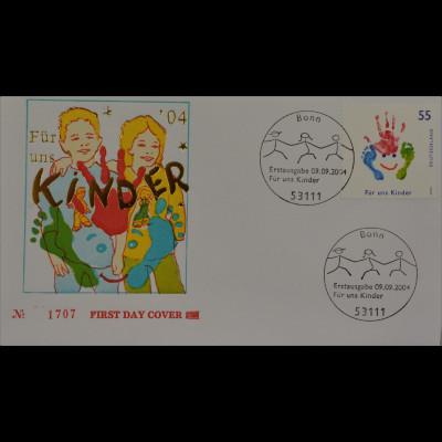 BRD Ersttagsbrief FDC Michel Nr. 2418 Für uns Kinder Hand- u. Fußabdrücke
