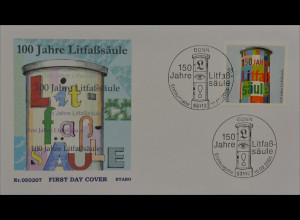 Bund BRD Ersttagsbrief FDC Michel Nr. 2444 150 Jahre Litfaßsäule