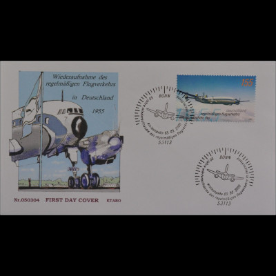 BRD Ersttagsbrief FDC MiNr. 2450 50. Jt. Wiederaufnahme Flugverkehrs Lufthansa