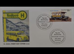 BRD Ersttagsbrief FDC MiNr. 2456 Tag der Briefmarke: 100 Jahre Kraftpost