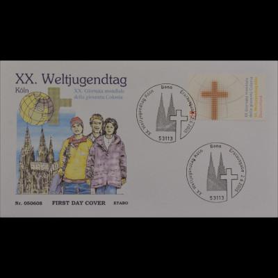 Bund BRD Ersttagsbrief FDC MiNr. 2469 Weltjugendtag Kreuz Weltkugel