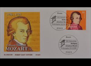 BRD Ersttagsbrief FDC Michel Nr. 2512 250. Geb. Wolfgang Amadeus Mozart