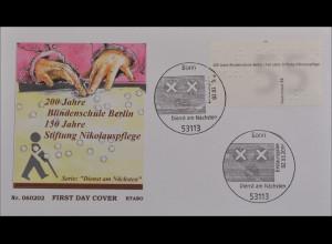 BRD Ersttagsbrief FDC Michel Nr. 2525 Dienst am Nächsten Blindenschule