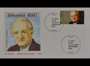 Bund BRD Ersttagsbrief FDC Michel Nr. 2528 Tod von Johannes Rau
