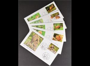BRD Ersttagsbrief FDC Michel Nr. 2539-43 Jugend Heimische Tiere Reh Eichhörnchen