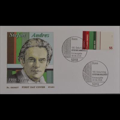 BRD Ersttagsbrief FDC MiNr. 2545 100 Geburtstag Stefan Andres Schriftsteller