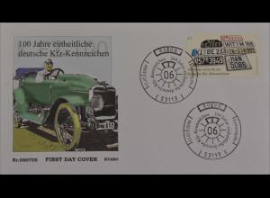 BRD Ersttagsbrief FDC MiNr. 2551 100 Jahre einheitliche deutsche Kfz-Kennzeichen