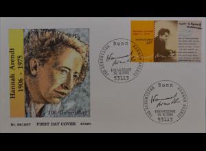 BRD Ersttagsbrief FDC MiNr. 2566 100 Geburtstag von Hanna Arendt