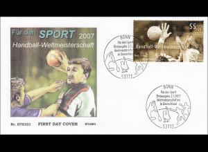 BRD Ersttagsbrief FDC MiNr. 2578 Sporthilfe Handball-WM Deutschland