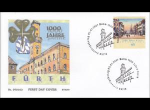 Bund BRD Ersttagsbrief FDC Michel Nr. 2580 1000 Jahre Fürth