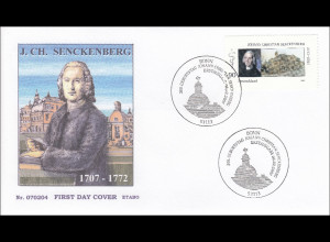 BRD Ersttagsbrief FDC MiNr. 2588 300. Geburtstag Johann Christian Senckenberg