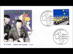 Bund BRD Ersttagsbrief FDC Michel Nr. 2593 50 Jahre Römische Verträge