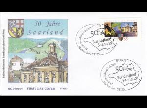 Bund BRD Ersttagsbrief FDC Michel Nr. 2595 50 Jahre Bundesland Saarland