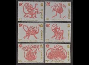 Guernsey 2016 Nr. 1553-58 Jahr des Affen Chinesisches Horoskop