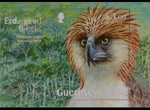 Guernsey 2016 Block 77 Gefährdete Arten Philippinscher Adler Endangered Species