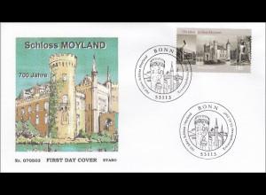 BRD Ersttagsbrief FDC Michel Nr. 2602 700 Jahre Schloss Moyland Bedburg Hau