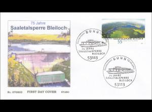 Bund BRD Ersttagsbrief FDC Nr. 2617 75 Jahre Saaletalsperre Bleiloch