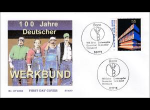 BRD Ersttagsbrief FDC Michel Nr. 2625 100 Jahre Deutscher Werkbund