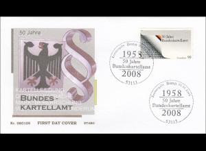 Bund BRD Ersttagsbrief FDC Michel Nr. 2641 50 Jahre Bundeskartellamt