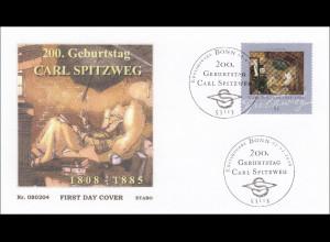 BRD Ersttagsbrief FDC MiNr. 2647 200. Geburtstag Carl Spitzweg Der arme Poet