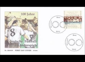 BRD Ersttagsbrief FDC MiNr. 2659 100 Jahre deutsche Fußball-Länderspiele Fußball