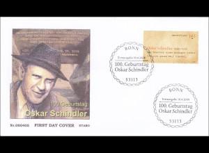 BRD Ersttagsbrief FDC MiNr. 2660 100. Geburtstag von Oskar Schindler Übersetzung