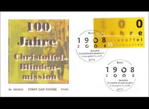 BRD Ersttagsbrief FDC Michel Nr. 2664 100 Jahre Christoffel-Blindenmission