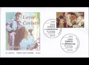 Bund BRD Ersttagsbrief FDC Michel Nr. 2679 150. Geburtstag von Lovis Corinth
