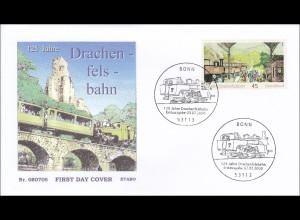 BRD Ersttagsbrief FDC Michel Nr. 2681 125 Jahre Drachenfelsbahn Zahnradbahn