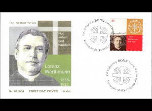 BRD Ersttagsbrief FDC Michel Nr. 2697 150. Geburtstag von Lorenz Werthmann