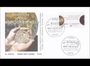 BRD Ersttagsbrief FDC Nr. 2711 Dienst am Nächsten Misereor Brot für die Welt