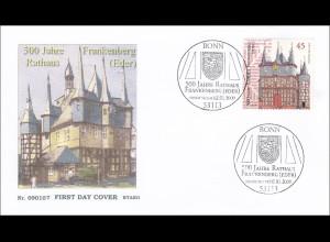 Bund BRD Ersttagsbrief FDC Michel Nr. 2713 500 Jahre Rathaus Frankenberg