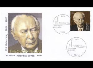 BRD Bund Ersttagsbrief FDC Michel Nr. 2714 125. Geburtstag von Theodor Heuss