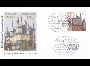 BRD Ersttagsbrief FDC Nr. 2718 500 Jahre Rathaus Frankenberg selbstklebend MH