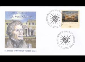 Bund BRD Ersttagsbrief FDC Nr. 2719 225. Geburtstag von Leo von Klenze
