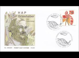 BRD Ersttagsbrief FDC Nr. 2722 100. Geburtstag von HAP Grieshaber Feuervogel