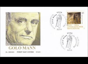 Bund BRD Ersttagsbrief FDC Michel Nr. 2726 100. Geburtstag von Golo Mann